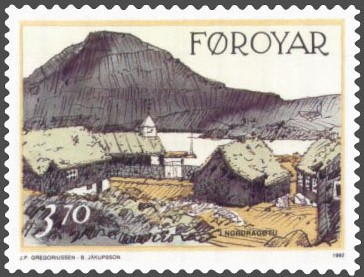 A Faroese Stamp featuring Húsini hjá Peri, the old part of Norðragøta with its lovely turf roofs.