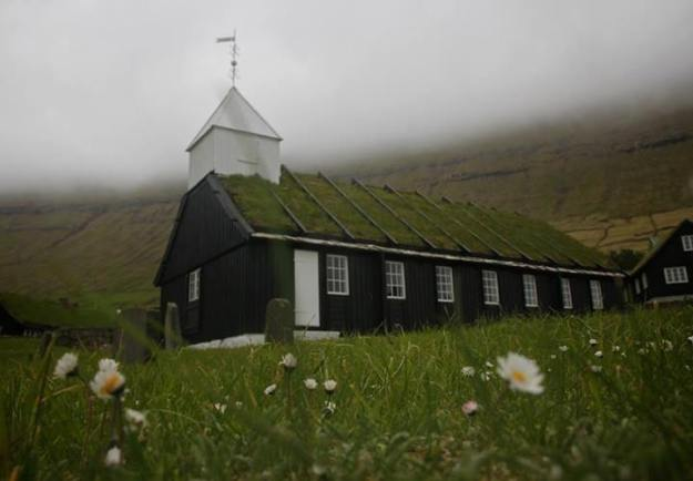 Traditional Faroese church in Norðagøta