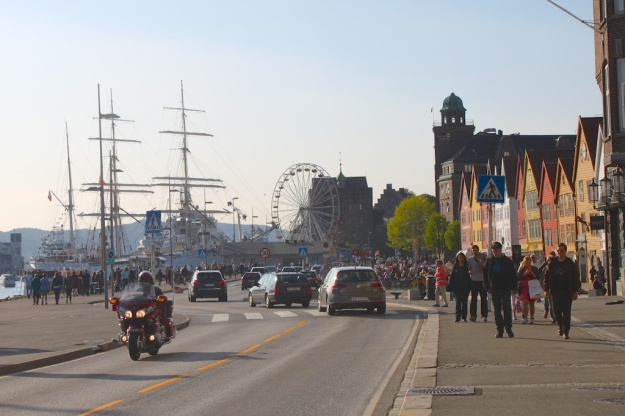 Bergen's historic wooden wharf (Bryggen), the tallship Statsraad Lehmkuhl and a Ferris Wheel for the Bicentennial celebrations.