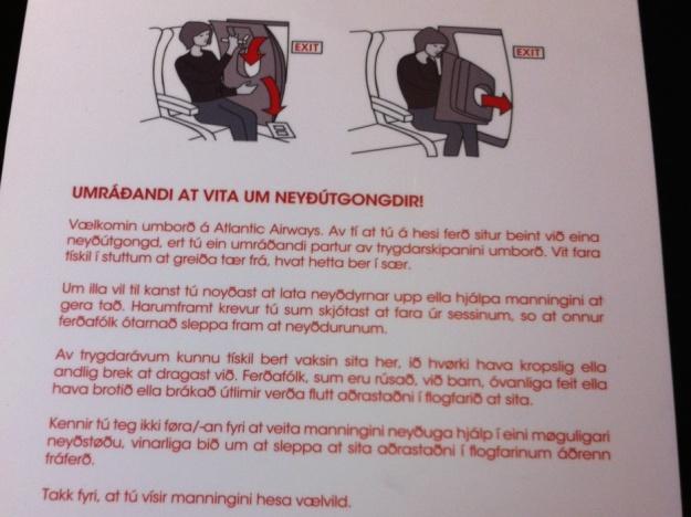 Emergency Exit Row instructions in Faroese on at Atlantic Airways flight.