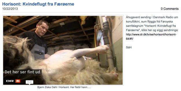 "A screenshot and description of the Danish tv documentary, ""Kvindeflugt fra Færoerne,"" which is about the gender disparity in the Faroe Islands."