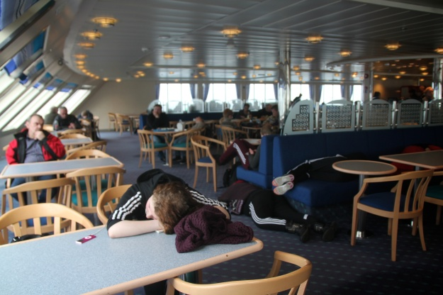 Passengers doze off on Smyril, the two-hour ferry that connects Suðuroy to Tórshavn.