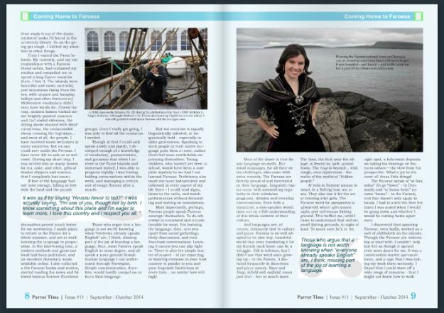 "From my article ""Coming Home to Faroese"" in Parrot Time's special Faroe Islands issue."
