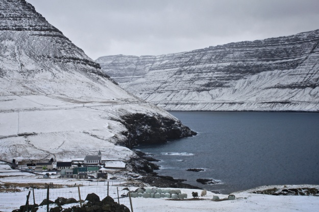 The village of Viðareiði, where the British ship Marwood stranded.